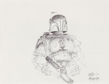 Lot # 52: Boba Fett Sketch - Armor