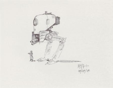 Lot # 53: Two-legged Walker Concept Sketch - with Scout