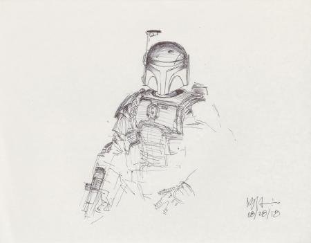 Lot # 56: Boba Fett Sketch - with Blaster