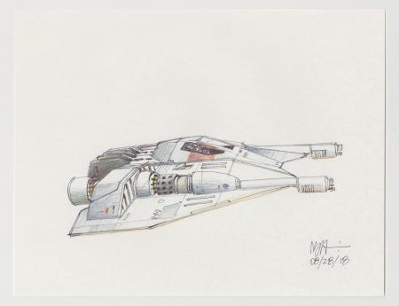 Lot # 57: Rebel Snowspeeder with Single Angular Cockpit Colored Sketch