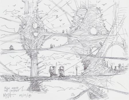 Lot # 58: Ewok Village Scene Design Sketch