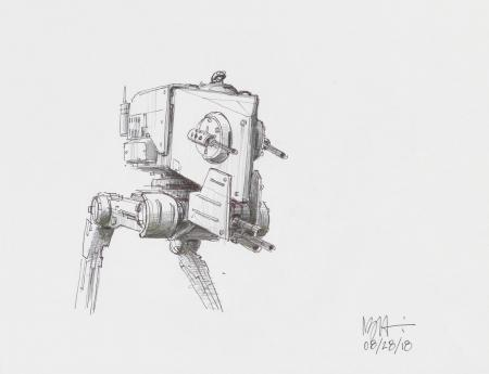 Lot # 61: Two-legged Walker Colored Sketch