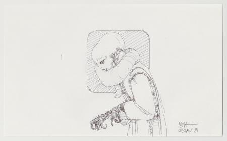 Lot # 62: Bib Fortuna Sketch - Hunched Over