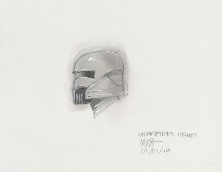 Lot # 66: Alternate Stormtrooper Helmet Costume Colored Design Sketch