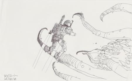 Lot # 67: Boba Fett Sketch - Sarlacc Escape