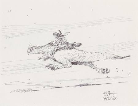 Lot # 68: Luke on Galloping Tauntaun Design Sketch