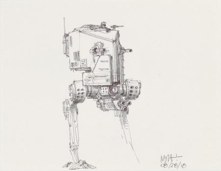 Lot # 73: Two-legged Walker Concept Sketch - with Cannon
