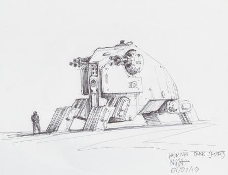 Lot # 74: Hoth Walking Tank Design Sketch