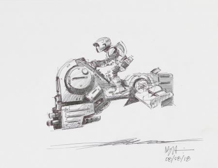 Lot # 75: Alternate Speeder Bike Colored Sketch with Scout Trooper - Profile