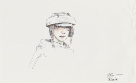 Lot # 77: Princess Leia Colored Helmet Sketch