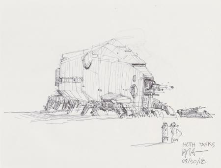 Lot # 80: Hoth Walking Tank and other craft Design Sketches