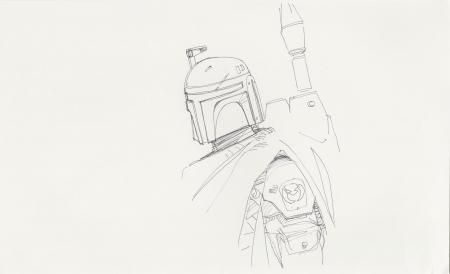 Lot # 81: Boba Fett Loose Sketch - Profile