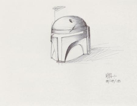 Lot # 82: Boba Fett Sketch - Helmet Study
