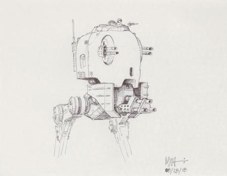 Lot # 84: Two-legged Walker Cockpit Concept Sketch