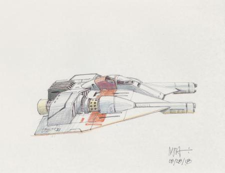 Lot # 85: Rebel Snowspeeder with Single Cockpit Colored Sketch