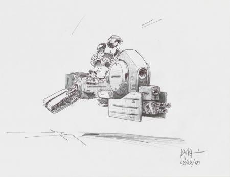Lot # 87: Alternate Heavy-duty Speeder Bike Colored Sketch with Scout Trooper