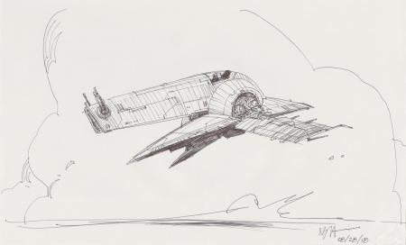 Lot # 89: Boba Fett's Slave I Sketch - In The Clouds
