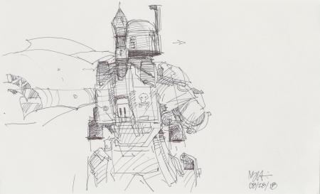 Lot # 91: Boba Fett Sketch - Costume Reverse