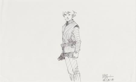 Lot # 92: Luke Skywalker Costume Sketch - Shaded