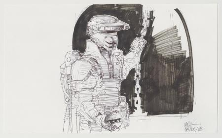 Lot # 93: Boushh Sketch - with Thermal Detonator and Chain