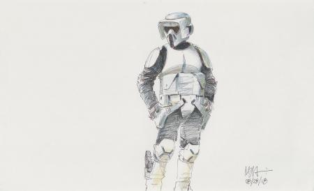 Lot # 97: Scout Trooper Colored Sketch - Costume Detail