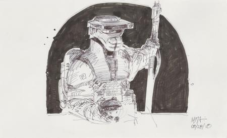 Lot # 98: Boushh Sketch - with Thermal Detonator and Staff