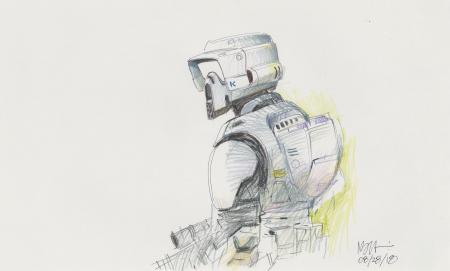 Lot # 99: Scout Trooper Colored Sketch - Reverse Detail