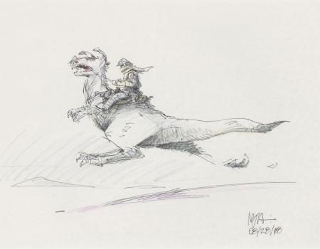 Lot # 104: Luke on Tauntaun Colored Design Sketch