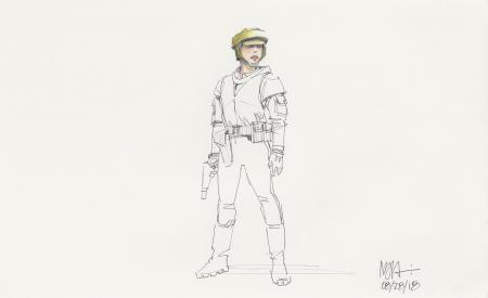 Lot # 105: Princess Leia Colored Costume Sketch - Endor helmet