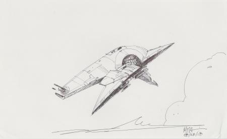Lot # 106: Boba Fett's Slave I Sketch - Profile