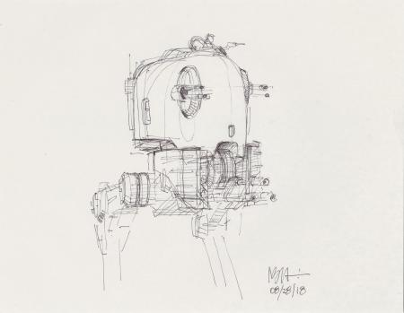 Lot # 107: Loose Two-legged Walker Cockpit Sketch