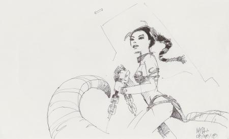 Lot # 110: Princess Leia Costume Sketch - Jabba's Dancer outfit with chain