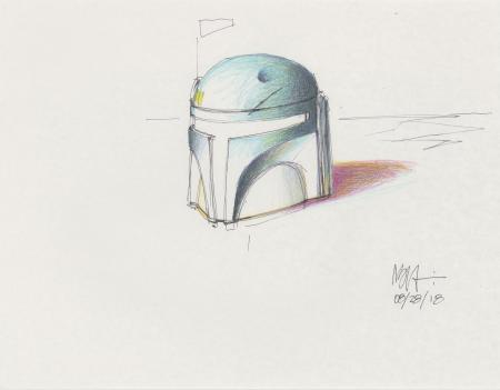 Lot # 121: Boba Fett Colored Sketch - Helmet Study