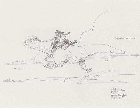 Lot # 123: Luke on Galloping Tauntaun Design Sketch