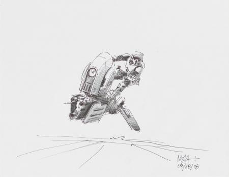 Lot # 124: Alternate Speeder Bike Colored Sketch with Scout Trooper Riding