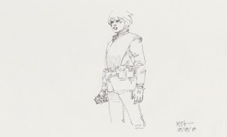 Lot # 127: Luke Skywalker Costume Sketch - with Lightsaber