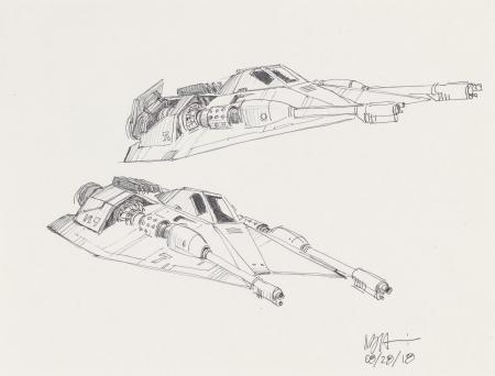 Lot # 128: Rebel Snowspeeder with Single Cockpit Sketches