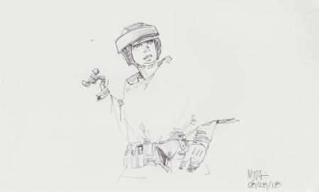 Lot # 129: Princess Leia Costume Sketch - Endor helmet