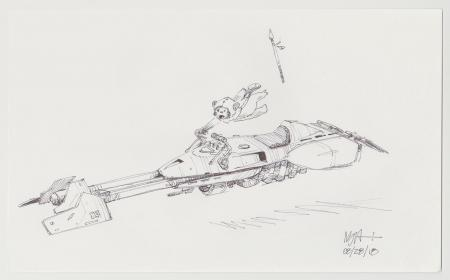 Lot # 130: Speeder Bike with Ewok Design Sketch