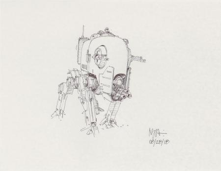 Lot # 131: Four-legged Smaller Walker Concept Sketch