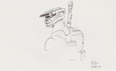Lot # 133: Loose Boushh Sketch - with Backpack and Weapon