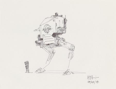 Lot # 135: Two-legged Walker Concept Sketch - with Scout