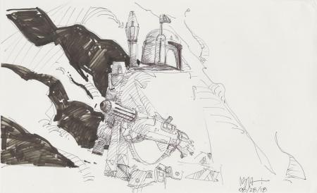 Lot # 136: Boba Fett Sketch - with Cape
