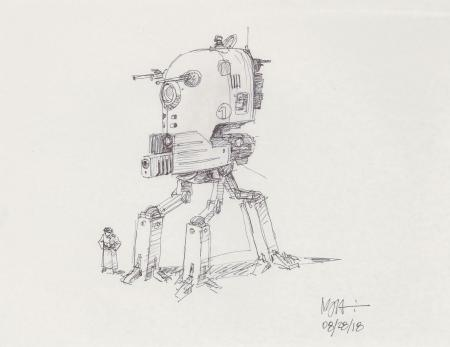 Lot # 137: Tripod Smaller Walker Concept Sketch