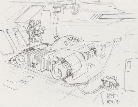 Lot # 141: Rebel Snowspeeder Sketch - Refueling in Hangar