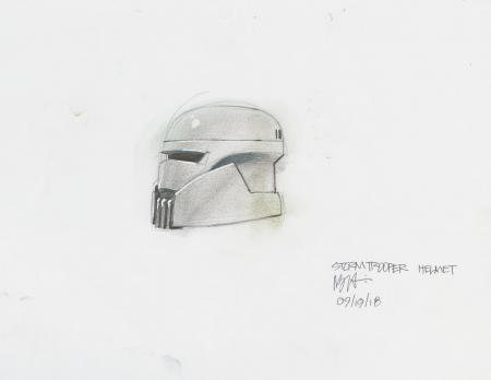 Lot # 142: Alternate Stormtrooper Helmet Colored Costume Design Sketch