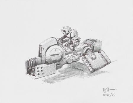 Lot # 143: Alternate Heavy-duty Speeder Bike Colored Sketch with Scout Trooper