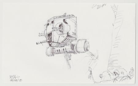 Lot # 144: AT-ST Chicken Walker Sketch - with Ewoks