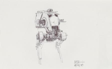 Lot # 148: AT-ST Chicken Walker Concept Sketch - with Driver