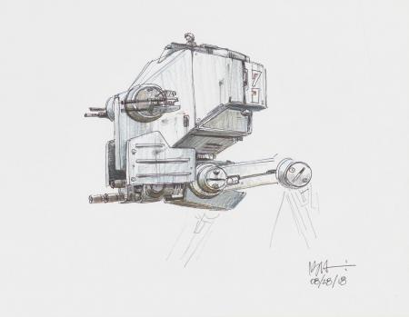 Lot # 150: Two-legged Walker Cockpit Colored Sketch